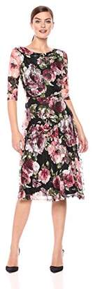 Sangria Women's Floral Fit and Flare Lace Dress