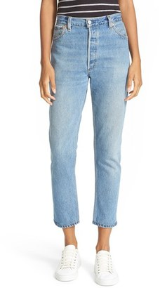 Women's Re/done Reconstructed High Waist Ankle Crop Jeans $264 thestylecure.com