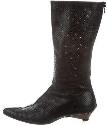 Emporio Armani Perforated Leather Pointed-Toe Boots