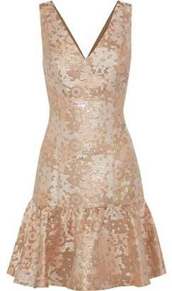 Badgley Mischka Fluted Brocade Mini Dress
