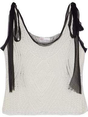 RED Valentino Cropped Silk Georgette-Trimmed Open-Knit Cotton Top