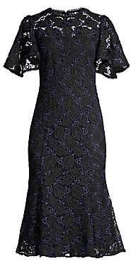 Shoshanna Women's Harmonia Eyelet Lace Butterfly Sleeve Flounce Dress - Size 0