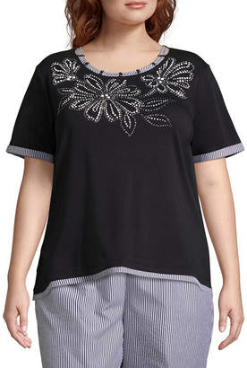 Alfred Dunner Perfect Match Flower Tee- Plus