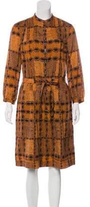 Burberry Abstract Print Midi Dress