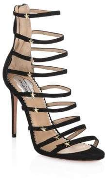 Aquazzura Claudia Schiffer X Crystal Star Suede Sandals
