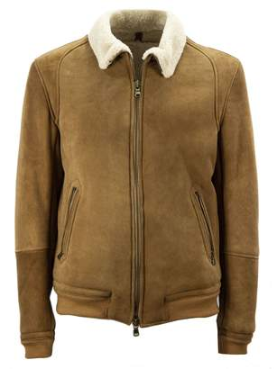 Mauro Grifoni Brown Cotton And Sheepskin Shearling Lined Jacket.