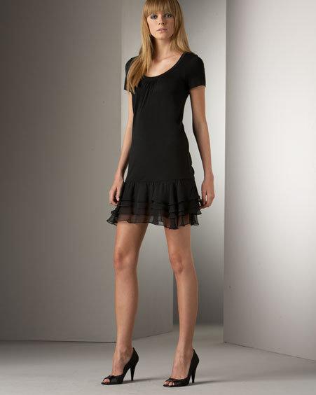 Bianca Nero Chiffon Ruffle Bottom Dress