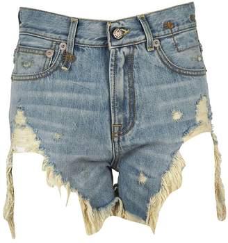 R 13 Ripped Effect Denim Shorts