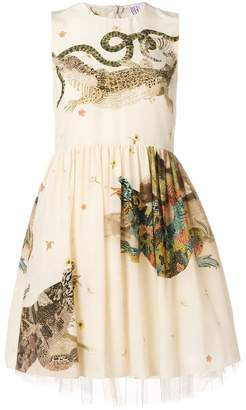RED Valentino reptiles print flared dress