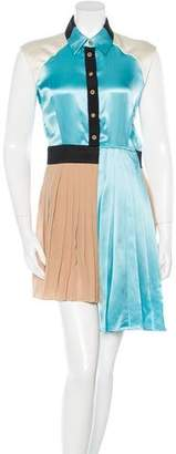 Fausto Puglisi Pleated Colorblock Dress w/ Tags