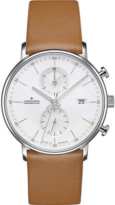 Junghans 041/4774.00 Form-C stainless steel and leather chronograph watch
