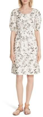 Rebecca Taylor Puff Sleeve Floral Cotton Linen Dress