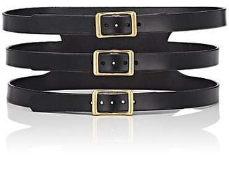 C.S. Simko Women's Three-Buckle Corset Leather Belt - Black