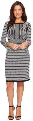Tribal Printed 3/4 Sleeve Boat Neck Dress Women's Dress