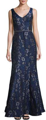 JS Collections Women's Jacquard Sleeveless Gown