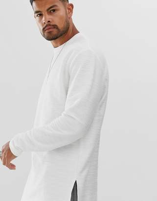 Asos Design DESIGN relaxed longline long sleeve t-shirt with side splits in heavyweight textured jersey