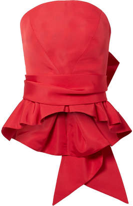 Brandon Maxwell Bow-detailed Silk-twill Bustier Top - Red
