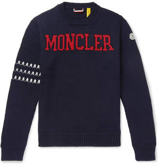 Moncler Genius - 2 1952 Logo-Intarsia Virgin Wool Sweater - Men - Navy