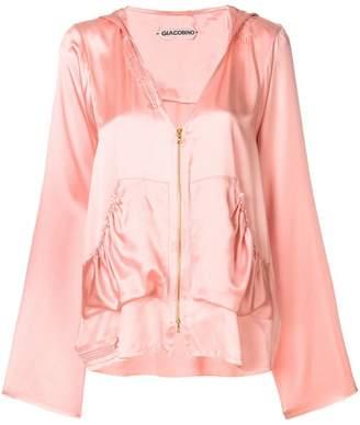 Giacobino asymmetric zip front hoodie