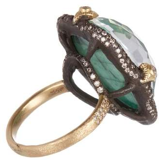 Armenta Old World Emerald Faceted 18k Yellow Gold Ring & Pave Champange Diamonds - 1.33 ctw