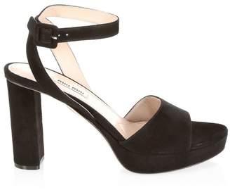 Miu Miu Suede Block Heel Platform Sandals
