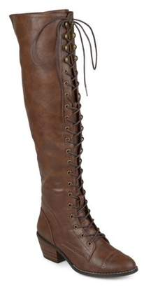 Brinley Co. Women's Faux Leather Wide Calf Over-the-knee Lace-up Brogue Boots