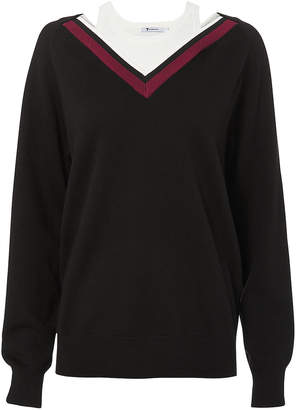 Alexander Wang Varsity Trim V-Neck Sweater