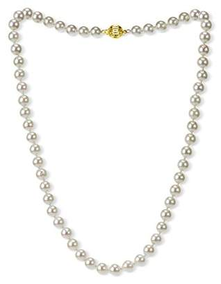 18k Yellow Gold 7-7.5mm AAAA Hand-Picked Japanese Akoya Cultured Pearl Ball Clasp Necklace