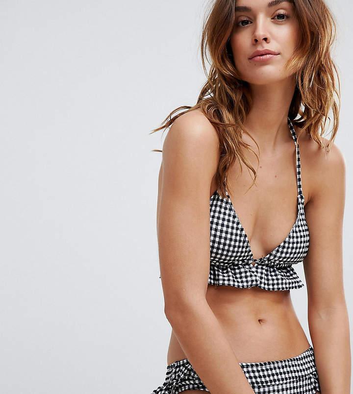 Frill Gingham Seersucker Bikini Top