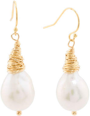 Gold Plated Sterling Silver Baroque Pearl Earrings
