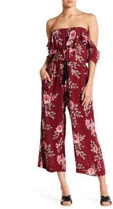 Poof Patterned Off-the-Shoudler Cropped Jumpsuit