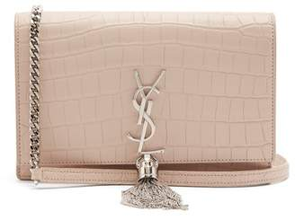 Saint Laurent - Kate Small Crocodile Effect Leather Cross Body Bag - Womens - Light Pink