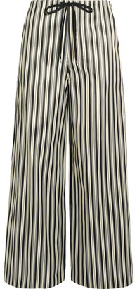 McQ Alexander McQueen - Striped Twill Wide-leg Pants - Gray $490 thestylecure.com
