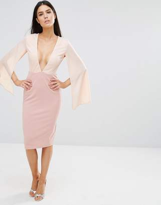 Rare Plunge Contrast Midi Dress $46 thestylecure.com