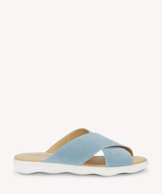 Lucky Brand Women's Mahlay Criss Cross Flat Sandals Faded Denim Size 5 Leather From Sole Society