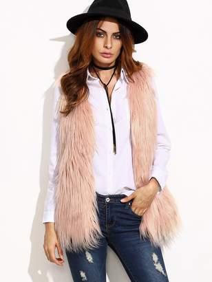 Shein Beige Faux Fur Vest