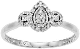 Everlasting Diamonds 10k White Gold 1/10 Carat T.W. Diamond Teardrop Cluster Ring