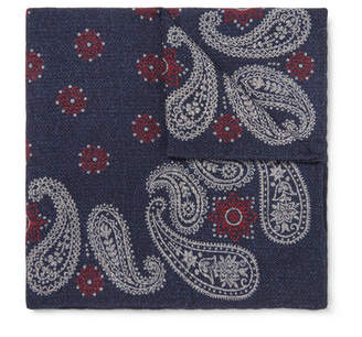 Brunello Cucinelli Paisley-Print Wool Pocket Square