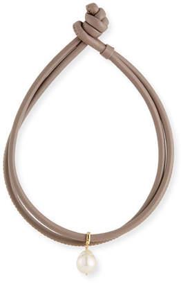Mizuki Baroque Pearl & Leather Wrap Bracelet, Taupe