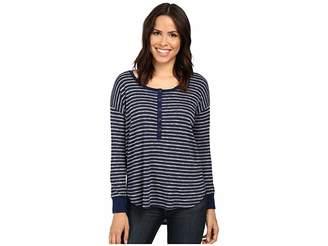 Splendid Alline Stripe Loose Knit Henley Women's Clothing