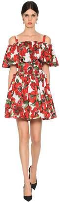 Dolce & Gabbana Short Cotton Poplin Printed Dress