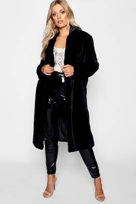 boohoo Plus Maxi Soft Faux Fur Coat
