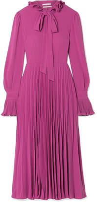 Co Pleated Ruffle-trimmed Crepe Midi Dress - Magenta