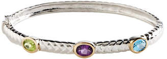 Tag Heuer FINE JEWELLERY Sterling Silver 14K Yellow Gold And Multi Coloured Gemstone Bangle