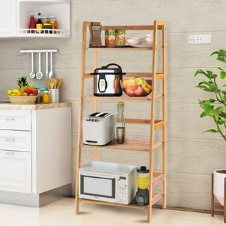 Costway Multifunctional 4 Shelf Bamboo Bookcase Ladder Plant Flower Stand Rack Storage