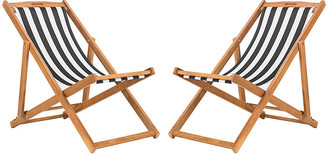 One Kings Lane Set of 2 Tisch Sling Chairs - Black/White