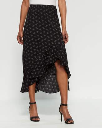 Max Studio Floral Asymmetrical Midi Skirt