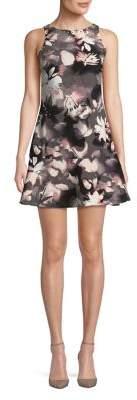 Ellen Tracy Floral Sleeveless Flounce Dress