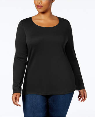 Karen Scott Plus Size Cotton Long-Sleeve T-Shirt