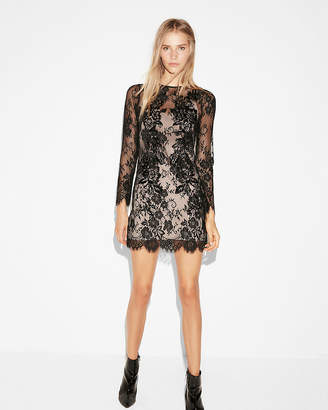 Express Embroidered Floral Lace Mini Sheath Dress